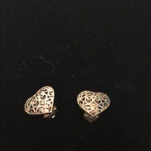 Vintage Heart Scroll Clip On Earrings
